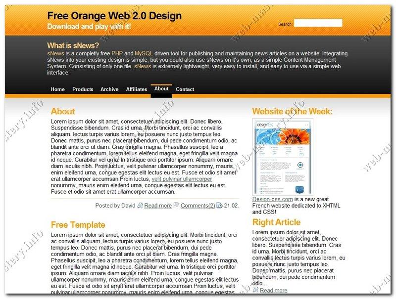 Free Orange Web 2.0 Design