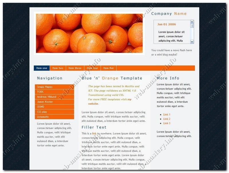 Blue & Orange Web Template