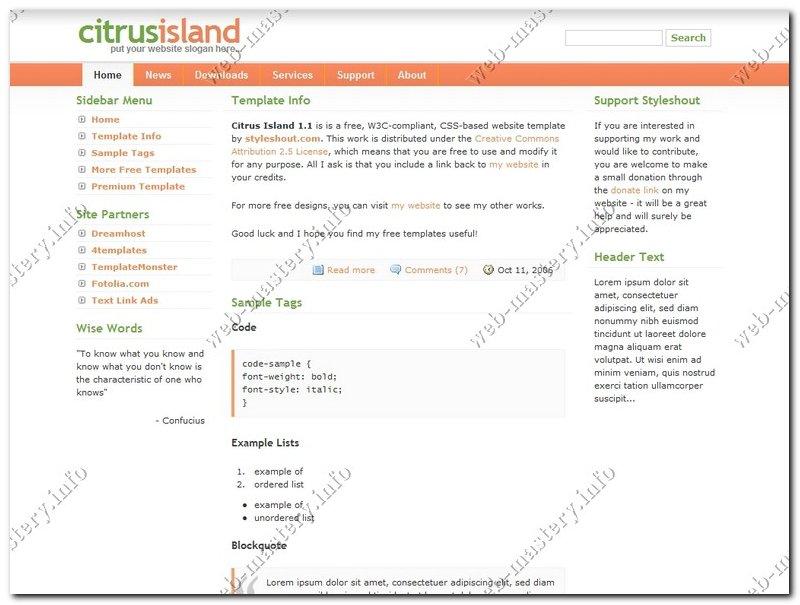Шаблон сайта Citrus Island