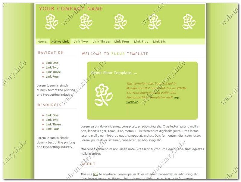 Салатовый шаблон сайта