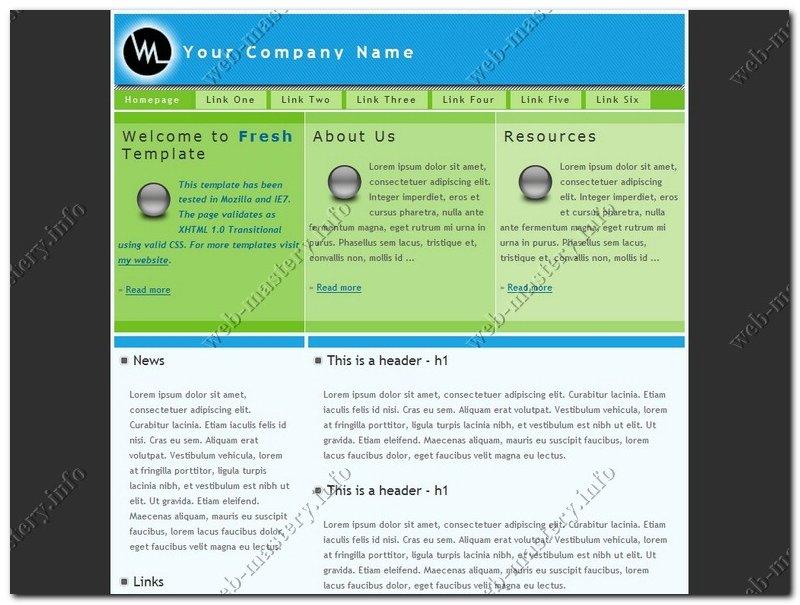 Дизайн для сайта Fresh Template