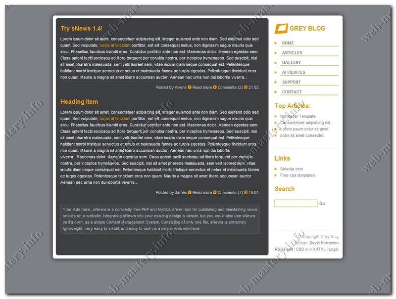Дизайн блога Grey Blog