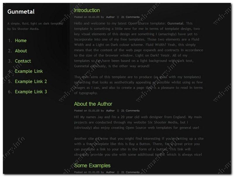 Шаблон сайта Gunmetal