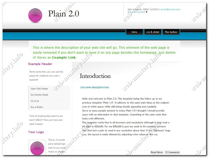 Шаблон сайта Plain 2.0