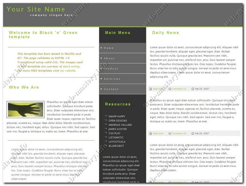 Шаблон сайта Black and Green