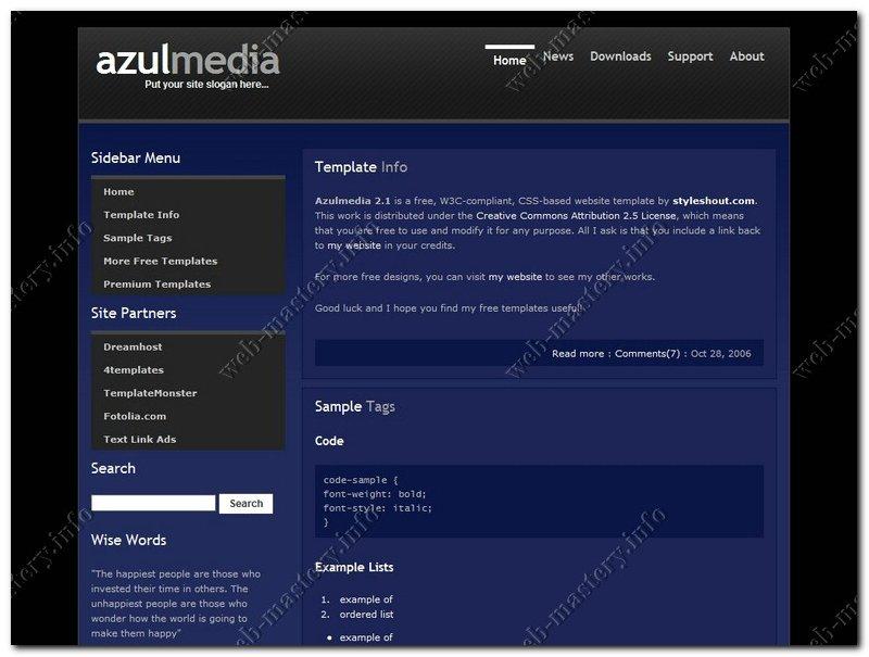 Шаблон сайта AzulMedia