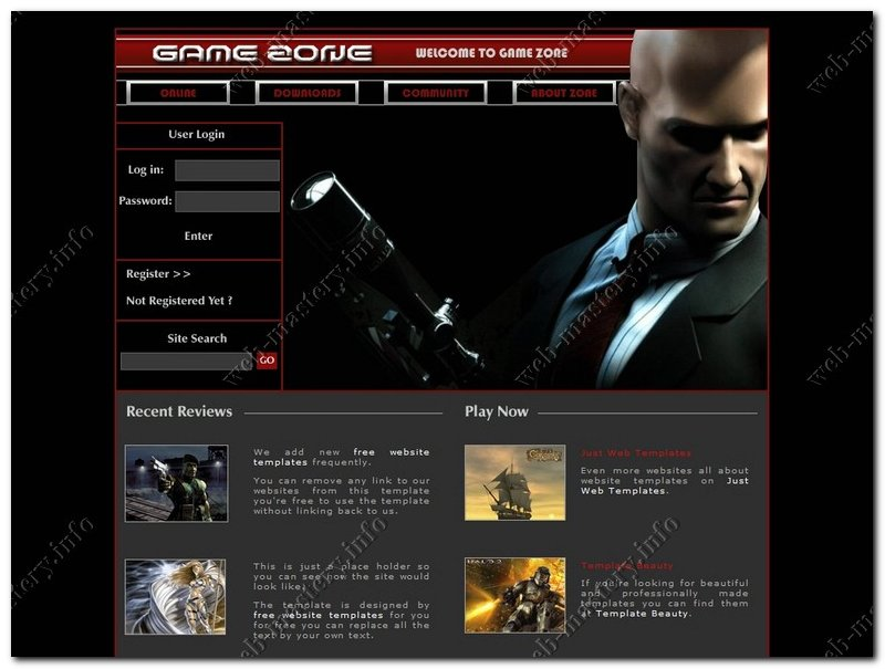 Шаблон игрового сайта Game Zone