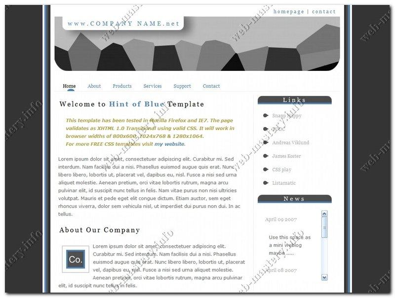 Шаблон сайта Hint of Blue