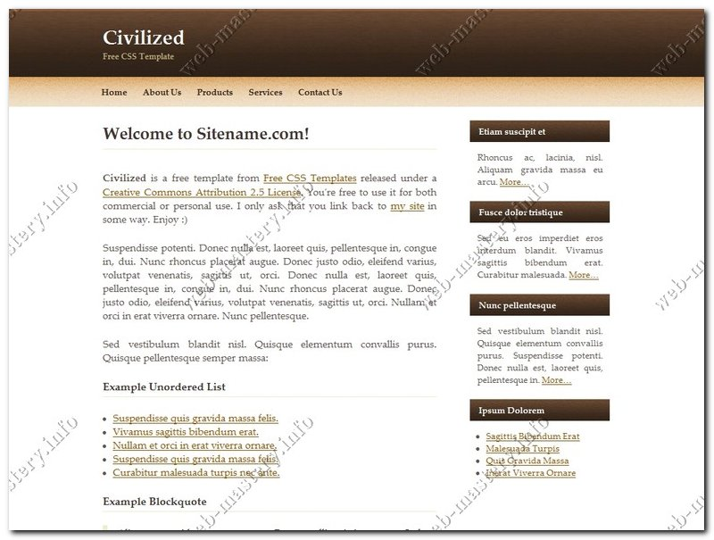 Css шаблон сайта Civilized