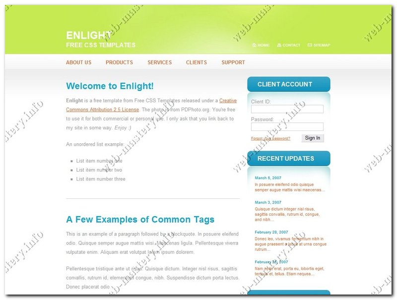 Дизайн сайта En light
