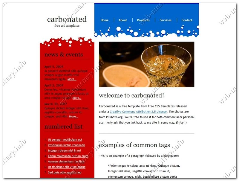 Шаблон для сайта Carbonated