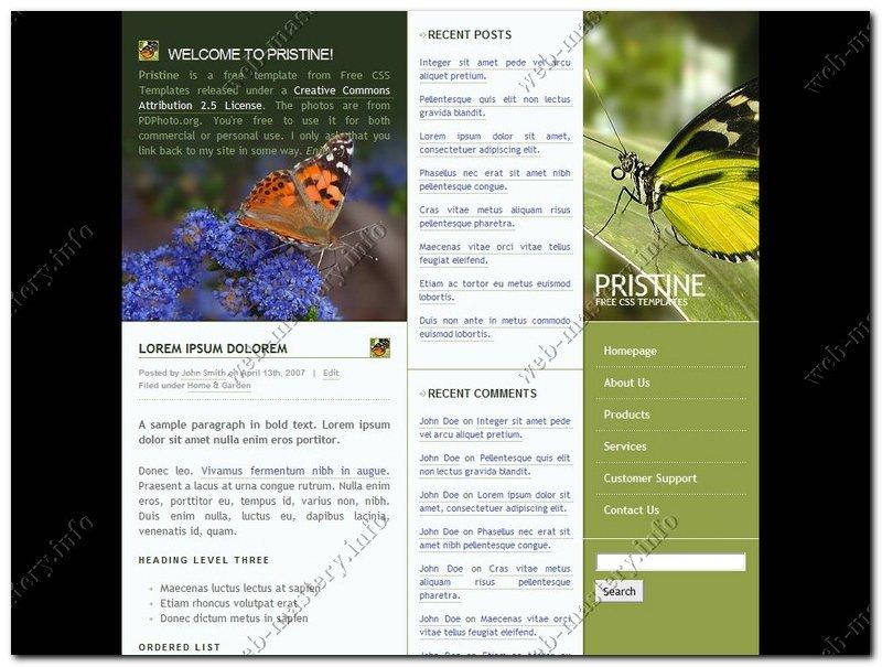Шаблон сайта о бабочках