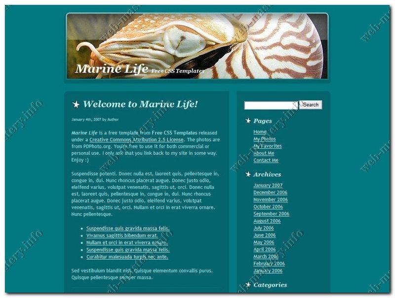 Шаблон Marine Life (Морская жизнь)