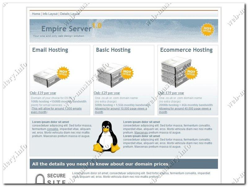 Шаблон сайта хостинга Empire Server