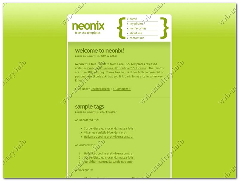 Шаблон сайта Neonix