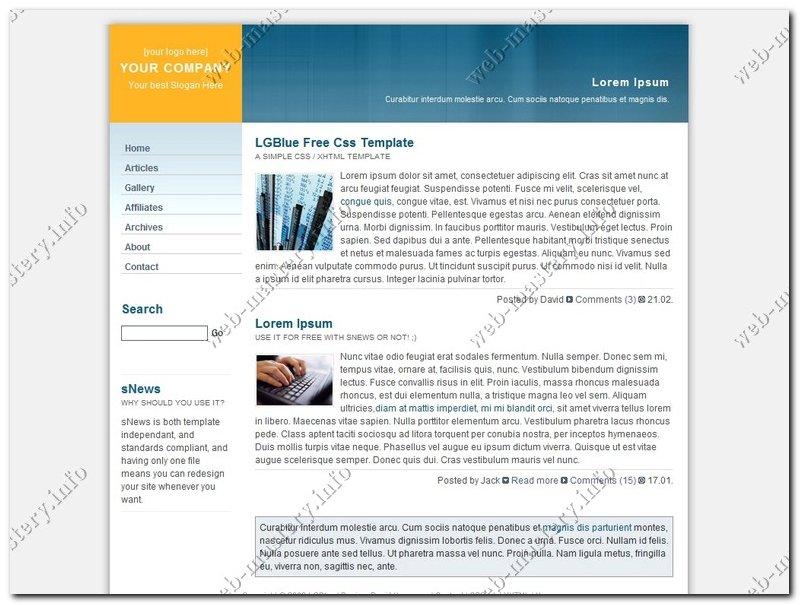 Шаблон сайта компании LG Blue
