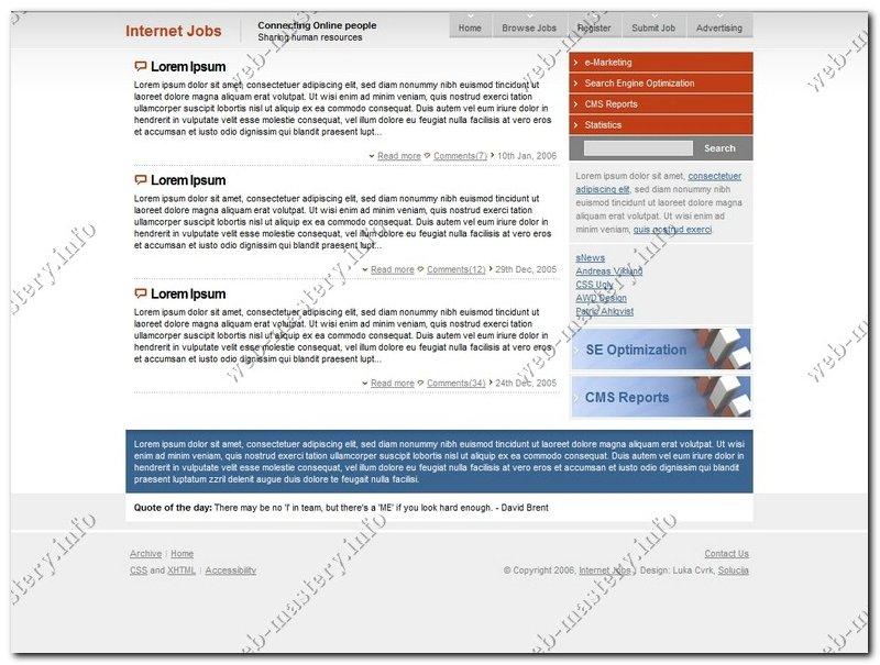 Дизайн сайта Internet Jobs