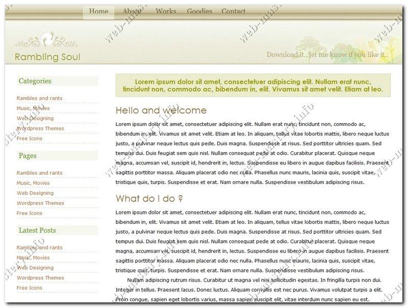 Дизайн сайта Rambling Soul