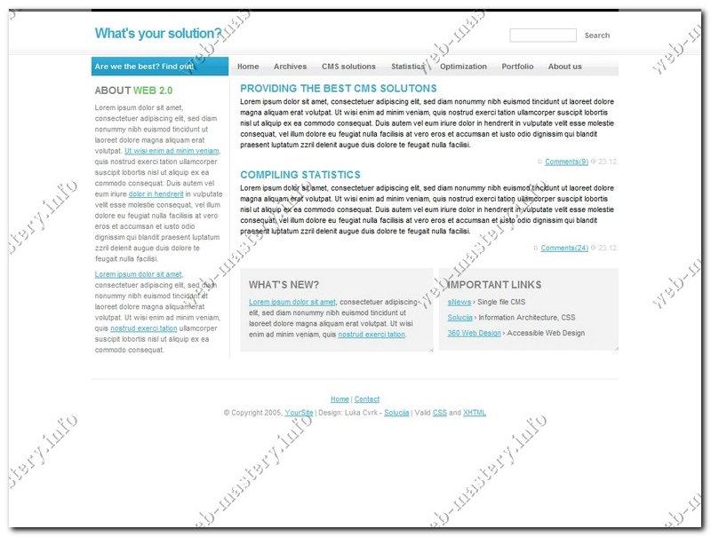 Шаблон web 2.0 Solution