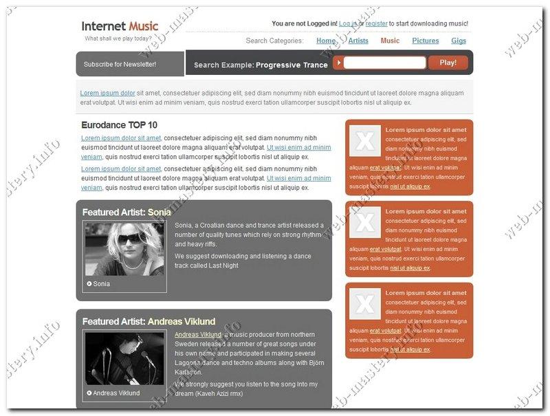 Шаблон Internet Music