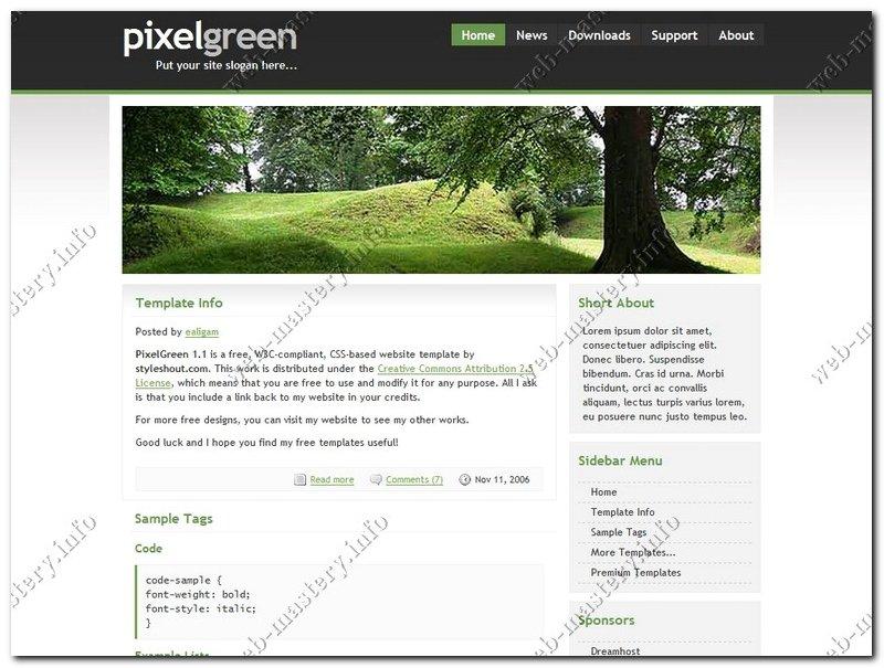 Дизайн сайта Pixel Green