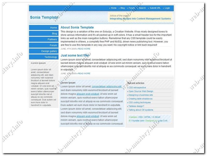 Шаблон сайта Sonia Template