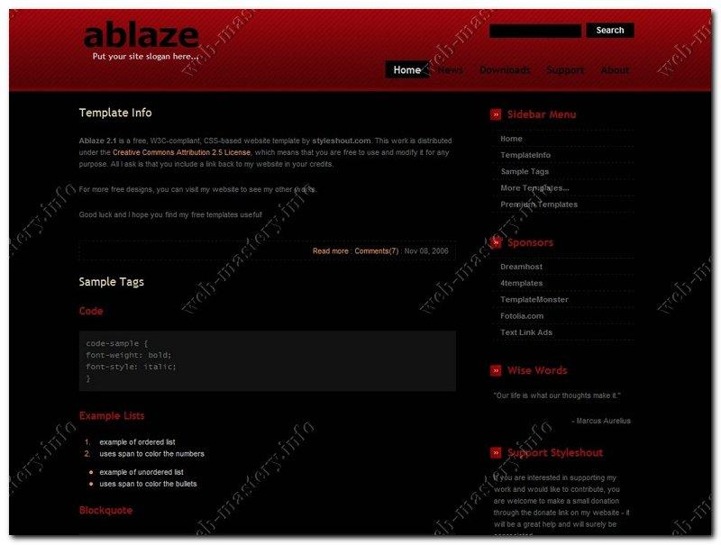 Макет сайта Ablaze